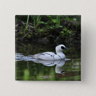 Black and White Smew or Sea Diving Duck Waterfowl Pinback Button