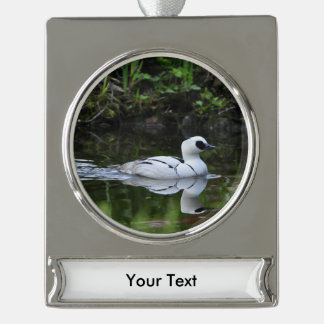 Black and White Smew or Sea Diving Duck Waterfowl Silver Plated Banner Ornament