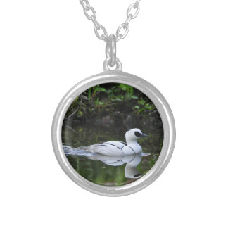 Black and White Smew or Sea Diving Duck Waterfowl Silver Plated Necklace