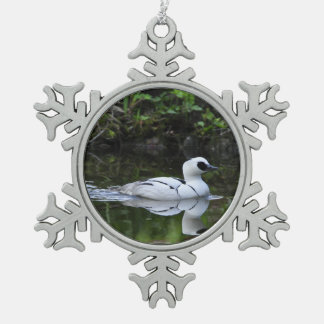 Black and White Smew or Sea Diving Duck Waterfowl Snowflake Pewter Christmas Ornament