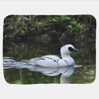 Black and White Smew or Sea Diving Duck Waterfowl Stroller Blanket