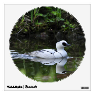 Black and White Smew or Sea Diving Duck Waterfowl Wall Decal
