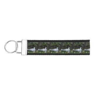 Black and White Smew or Sea Diving Duck Waterfowl Wrist Keychain