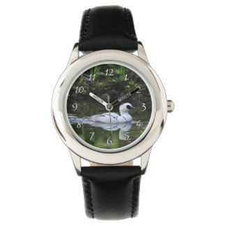 Black and White Smew or Sea Diving Duck Waterfowl Wrist Watch