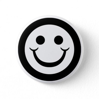 BLACK AND WHITE SMILEY FACE PINS by dgpaulart. Black and white smiley face.