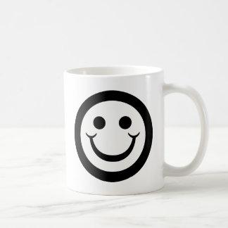 BLACK AND WHITE SMILEY FACE COFFEE MUG