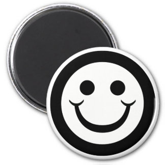 BLACK AND WHITE SMILEY FACE MAGNET