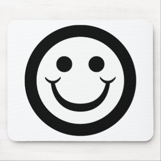 BLACK AND WHITE SMILEY FACE MOUSEPADS