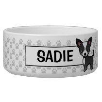 Black And White Smooth Coat Chihuahua Cartoon Dog Bowl
