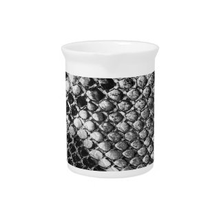 Black and White Snake Skin - Animal Print Drink Pitcher