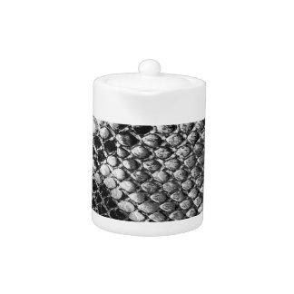 Black and White Snake Skin - Animal Print Teapot