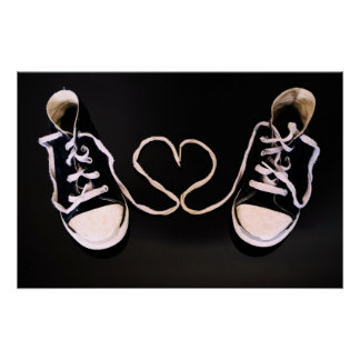 Black and white sneakers love heart Poster