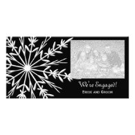 Black and White Snowflake Engagement Photo Card