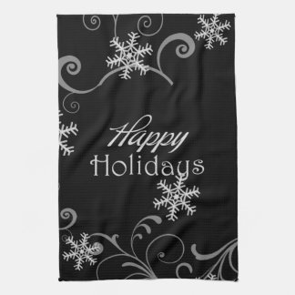Black and White Snowflake Holiday Kitchen Towel