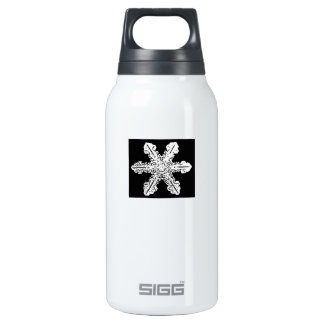 Black and White Snowflake Insulated Water Bottle