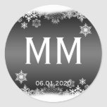 Black and White Snowflake Monogram Sticker