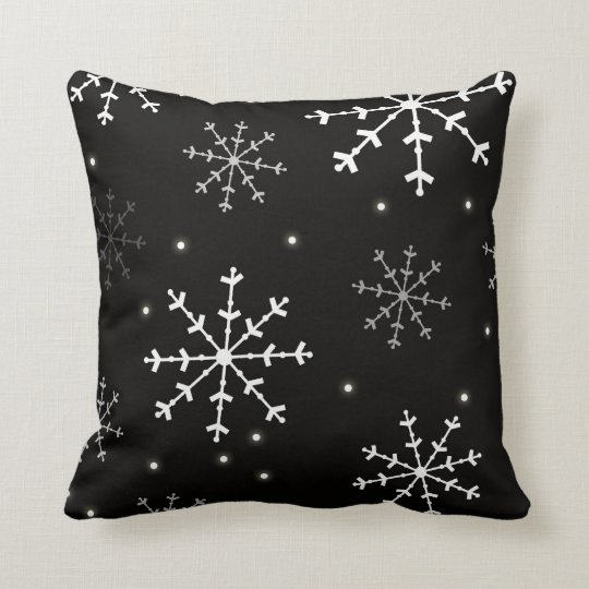 Black and White Snowflake Pillow