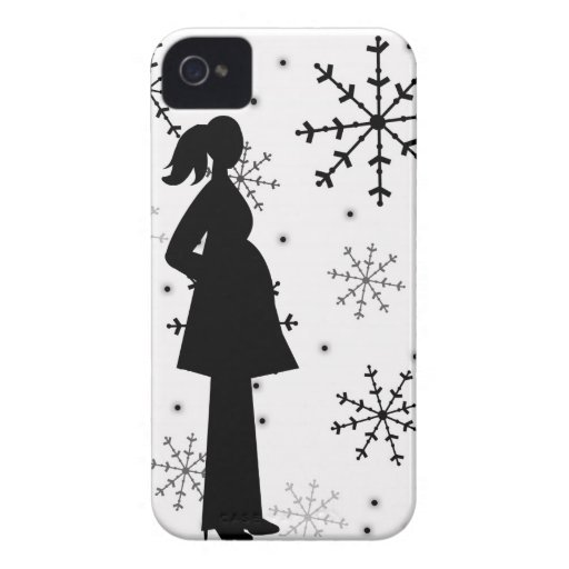 Black and White Snowflake Pregnancy iPhone 4 Case
