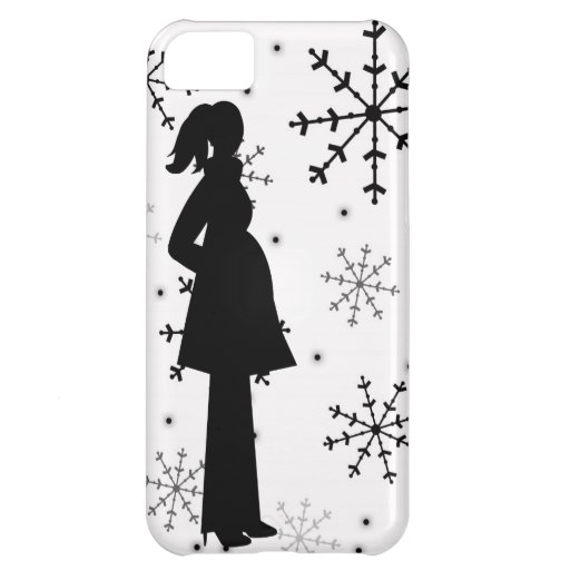 Black and White Snowflake Pregnancy iPhone 5 Case