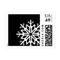 Black and White Snowflake Stamp