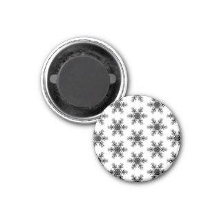 Black and White Snowflake Star Pattern Gift Item Magnet