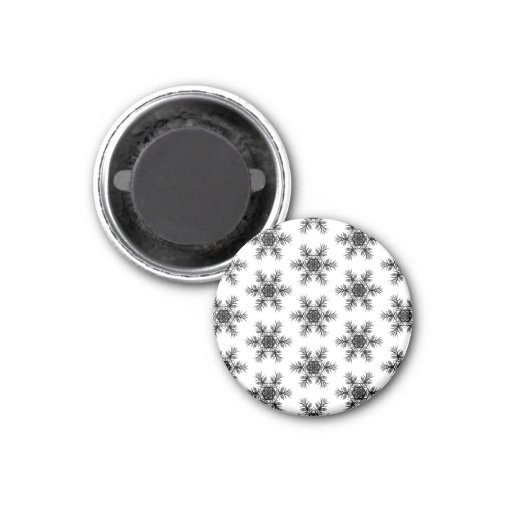 Black and White Snowflake Star Pattern Gift Item Refrigerator Magnets