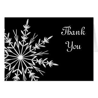 Black and White Snowflake Thank You Note Card