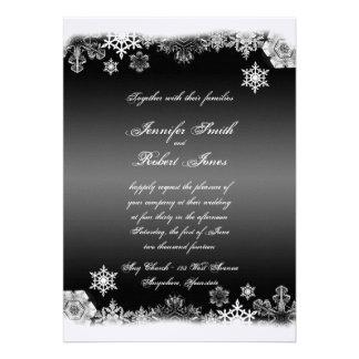Black and White Snowflake Wedding Invitation