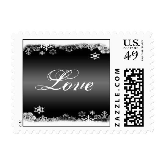 Black and White Snowflake Wedding Love Postage