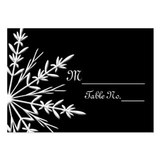 Black and White Snowflake Wedding Place Cards Large Business Card