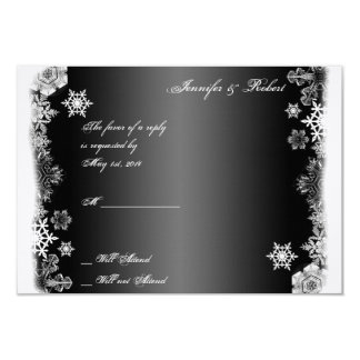 Black and White Snowflake Wedding Response Card Personalized Invitation