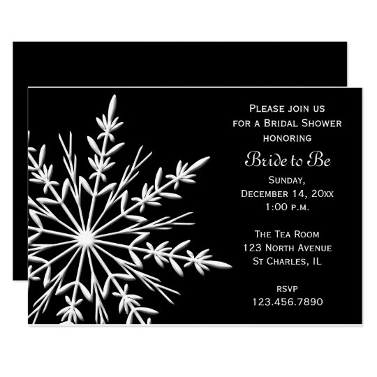 Black and White Snowflake Winter Bridal Shower Card