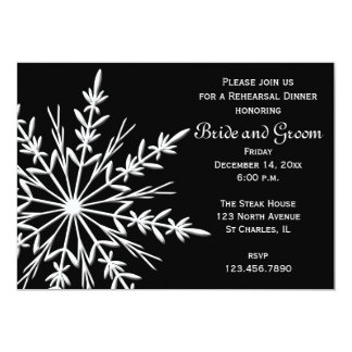 Black and White Snowflake Winter Rehearsal Dinner Card