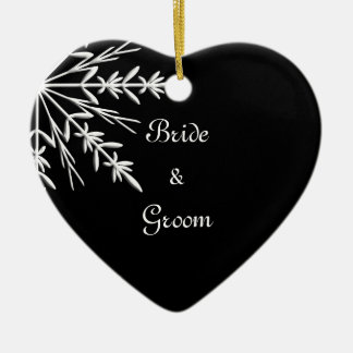 Black and White Snowflake Winter Wedding Ceramic Ornament