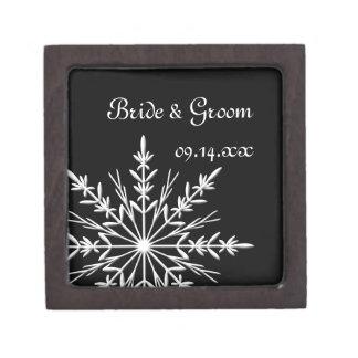Black and White Snowflake Winter Wedding Gift Box