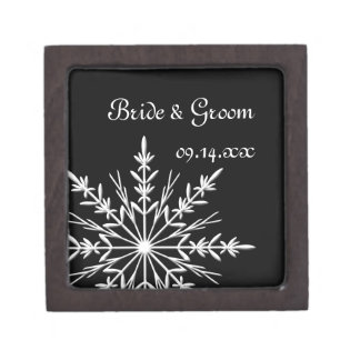 Black and White Snowflake Winter Wedding Jewelry Box