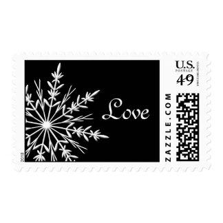 Black and White Snowflake Winter Wedding Love Postage