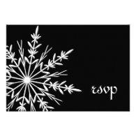 Black and White Snowflake Winter Wedding RSVP Custom Invites