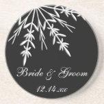 Black and White Snowflake Winter Wedding Sandstone Coaster