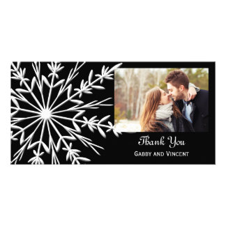 Black and White Snowflake Winter Wedding Thank You Card