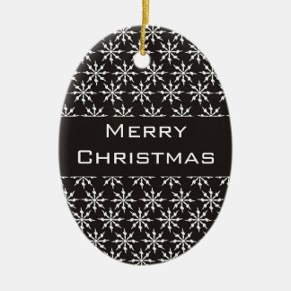 Black and White Snowflakes - Merry Christmas! Ornaments
