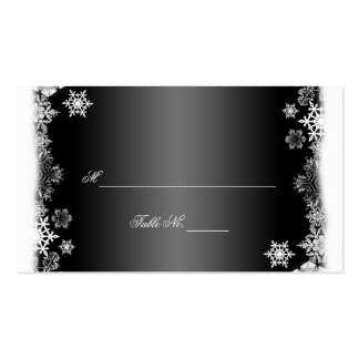 Black and White Snowflakes Wedding Place Cards Business Cards