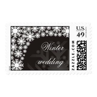 Black and White Snowflakes - Winter wedding stamp