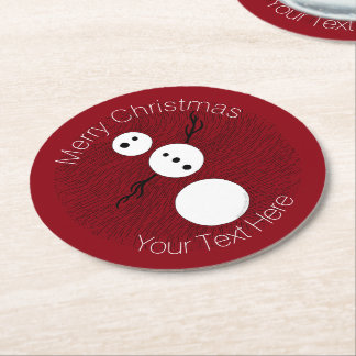 Black And White Snowman On Red Christmas Holiday Round Paper Coaster