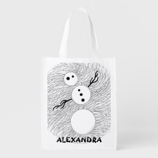 Black And White Snowman Personalized Reusable Tote Reusable Grocery Bag