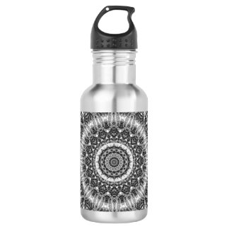 "Black and White ""Snowy Creek"" Rectangular Mandala Stainless Steel Water Bottle"