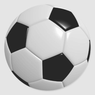 Black and White Soccer Ball Classic Round Sticker