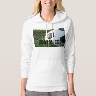Black and White Soccer Ball in Green Grass Hoodie