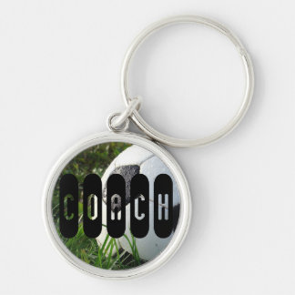 Black and White Soccer Ball in Green Grass Keychain
