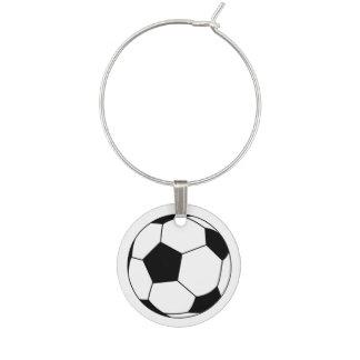 Black and White Soccer Ball on White Wine Charm